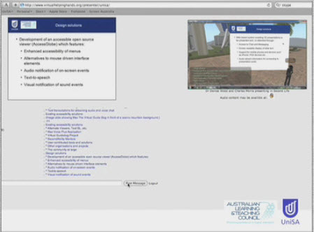Screen shot showing the Web 2.0 interface used to access Second Life