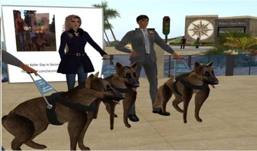 Screen shot of three avatars with virtual guide dogs in Second Life