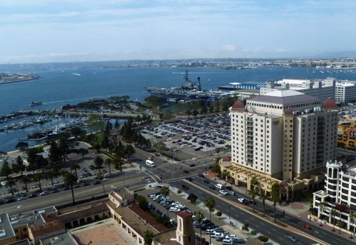Scenic picture taken of the San Diego Harbour from one of the twin towers of the Grand Manchester Hyatt, at the 2011 CSUN conference