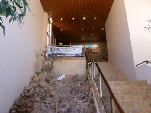 View of stairs leading to the ICPA conference at the Desert Cave Hotel, Coober Pedy