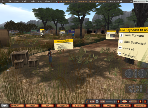 The initial orientation trail children encounter when they log into the 3D virtual learning environment