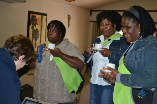 Teachers from Yingisani and Letaba Special Schools discuss their learners' special needs during a tea break