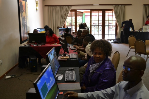 Teachers attending the hands-on training in use of the 3D virtual learning environment