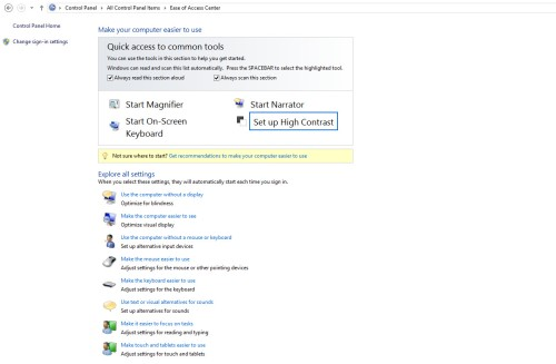 Ease of Access Center accessibility options in Windows 8