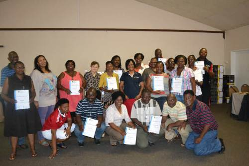 Teachers with their certificates following training conducted in Tzaneen in October 2012
