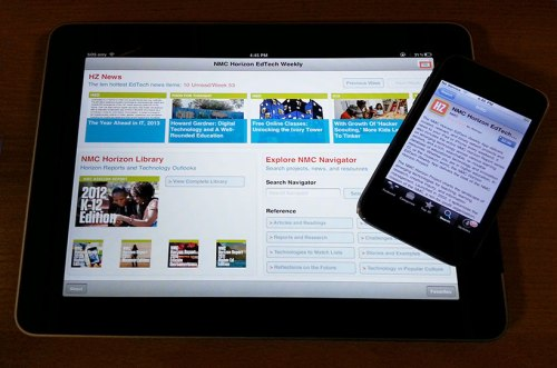 New Media Consortium's EdTech App displayed on an iPhone and iPad